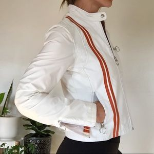 White Leather Jacket - Small